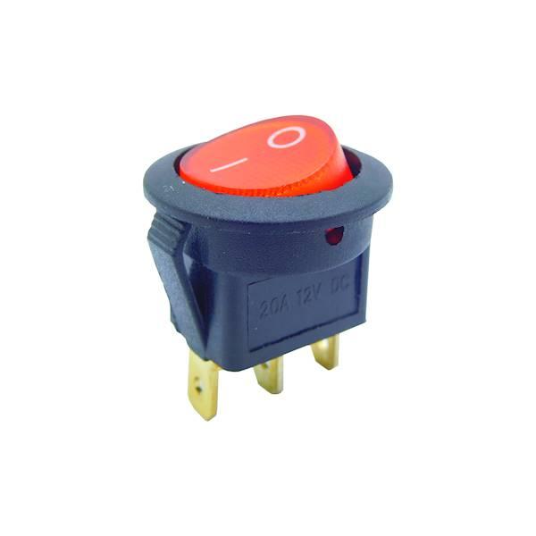 Przełącznik podświetlany okrągły 12V  czerwony