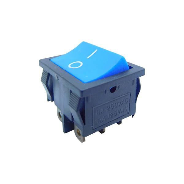 Przełącznik kołyskowy duży on-on, niebieski