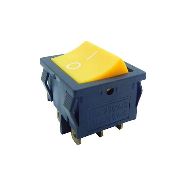 Przełącznik kołyskowy duży on-on, żółty