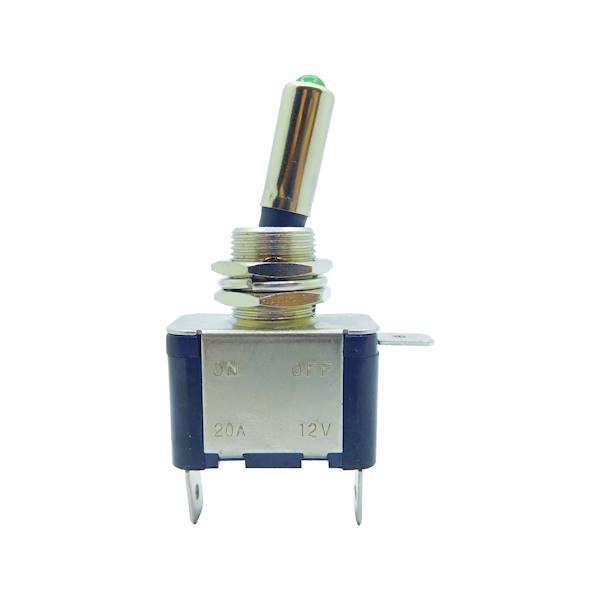 Przełącznik samochodowy podświetlany zielony 20A