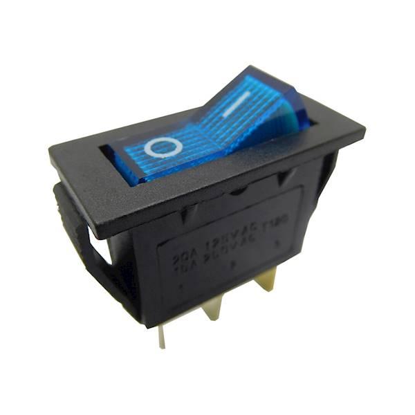 Przełącznik  podświetlany średni AC niebieski
