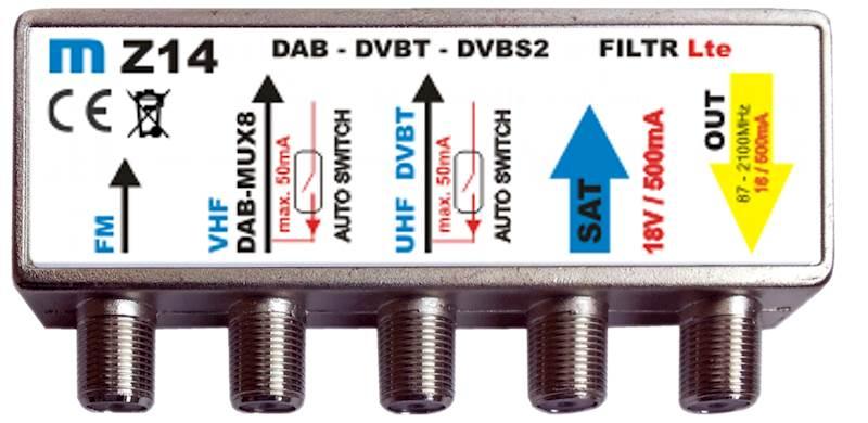 Zwrotnica  FM/ DAB-VHF/ UHF/ SAT -  typ Z14