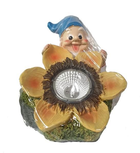 Lampka solarna krasnal na kwiatku, polu