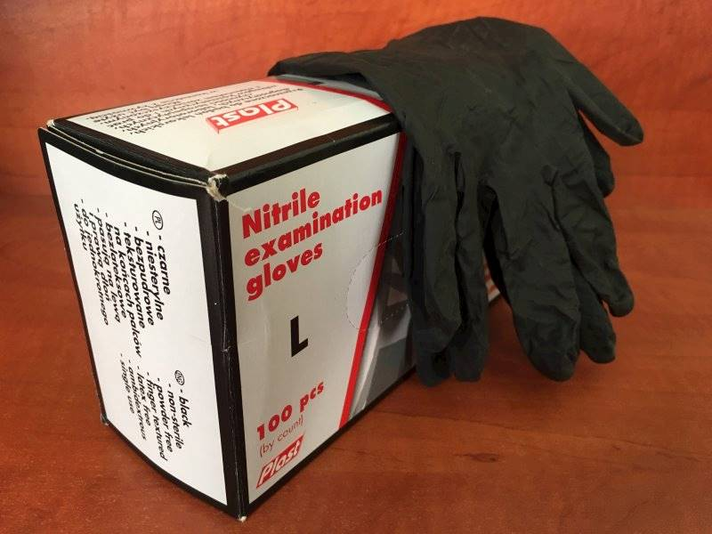 Rękawiczki Ochronne Nitrylowe Diagnostyczne jednorazowe 1szt. Czarne