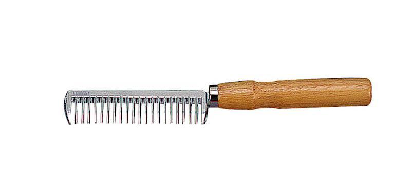 Grzebień aluminiowy z drewnianą raczką