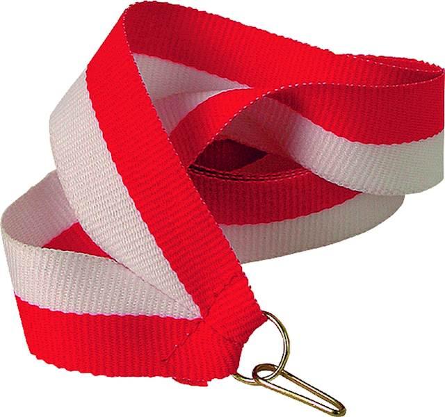 wstążka biało/czerwona 1 cm