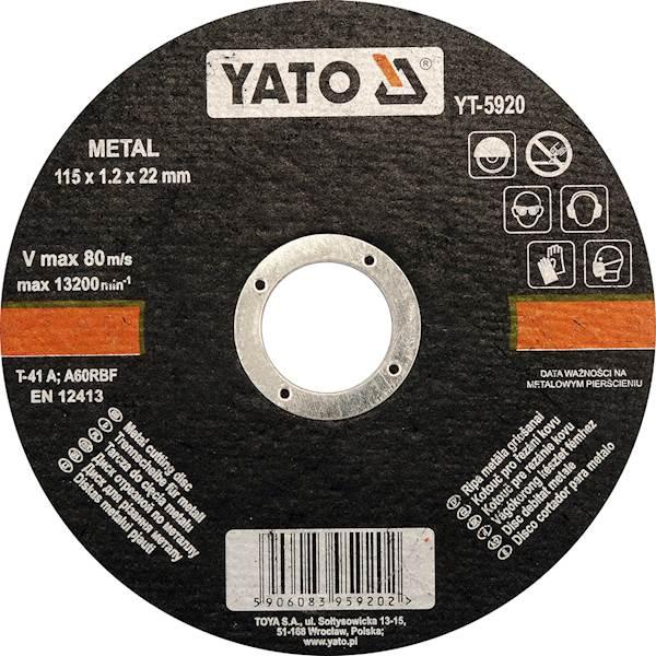 TARCZA DO CIĘCIA METALU 115X1,2X22 MM YT-5920 YATO