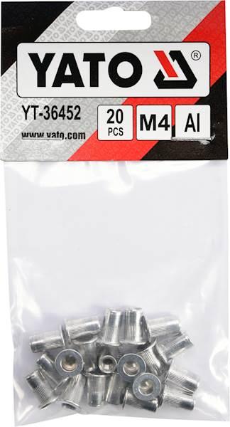 NITONAKRĘTKI ALUMINIOWE M4 20SZT. YT-36452 YATO