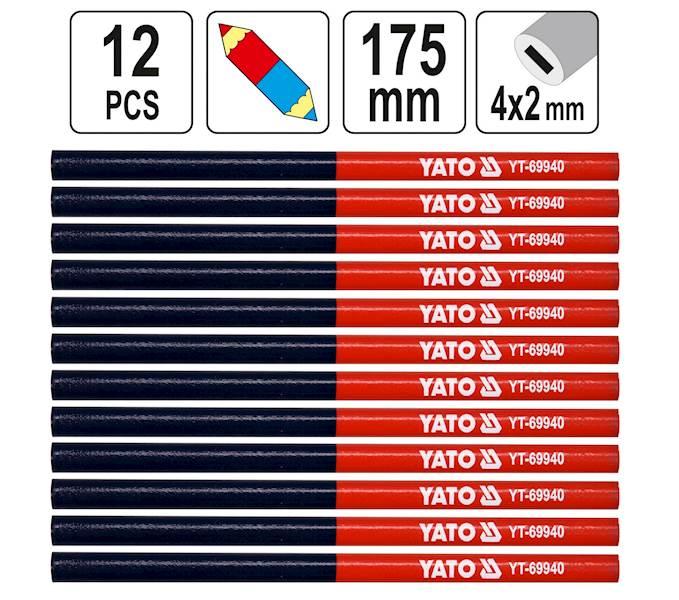 OŁÓWKI OŁÓWEK TECHNICZNY STOLARSKI 175mm 12szt. YT-69940 YATO
