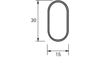 Rura ubraniowa 30 x 15 mm, 2000 mm