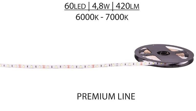 Pasek LED Premium 12V SMD2835 60 LED 6000-7000K, Biały zimny