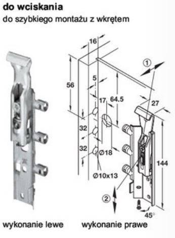 Zawieszka kryta do szafek górnych, L lub P