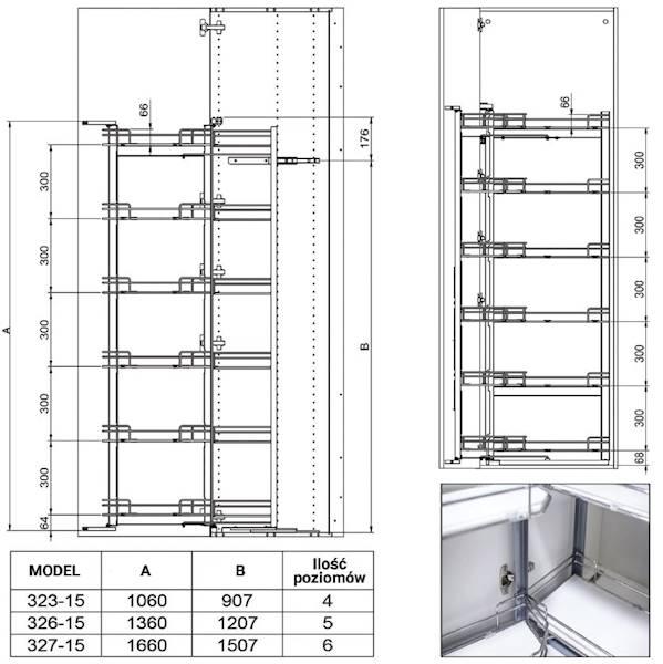 Cargo Maxi Tanderm 60, 6 poziomów, H-1670, chrom
