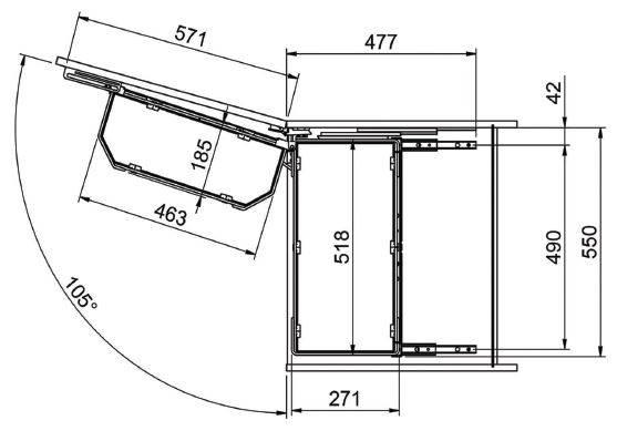 Cargo Maxi Tanderm 60, 5 poziomów, H-1370, chrom