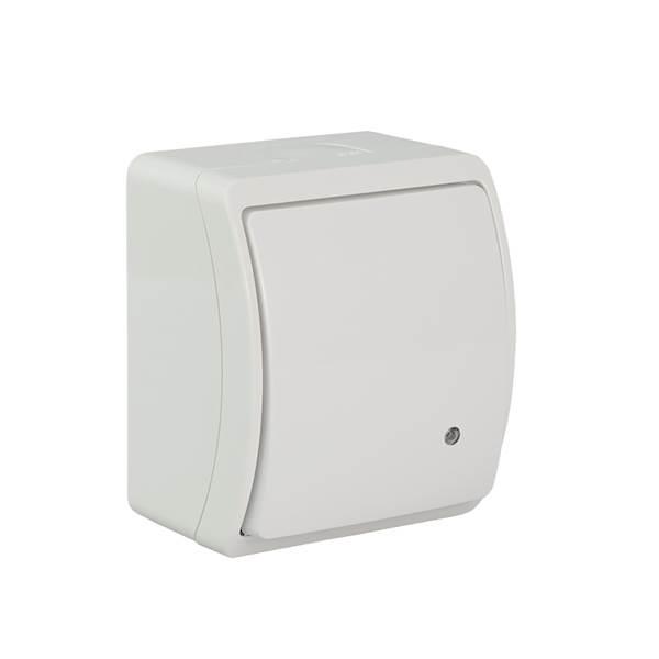 Łącznik jednobiegunowy podświetlany IP44 biały