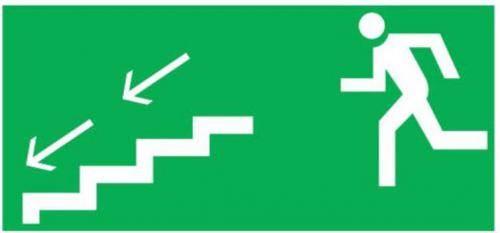 Piktogram 100x300 'schodami w lewo na dół' PM13