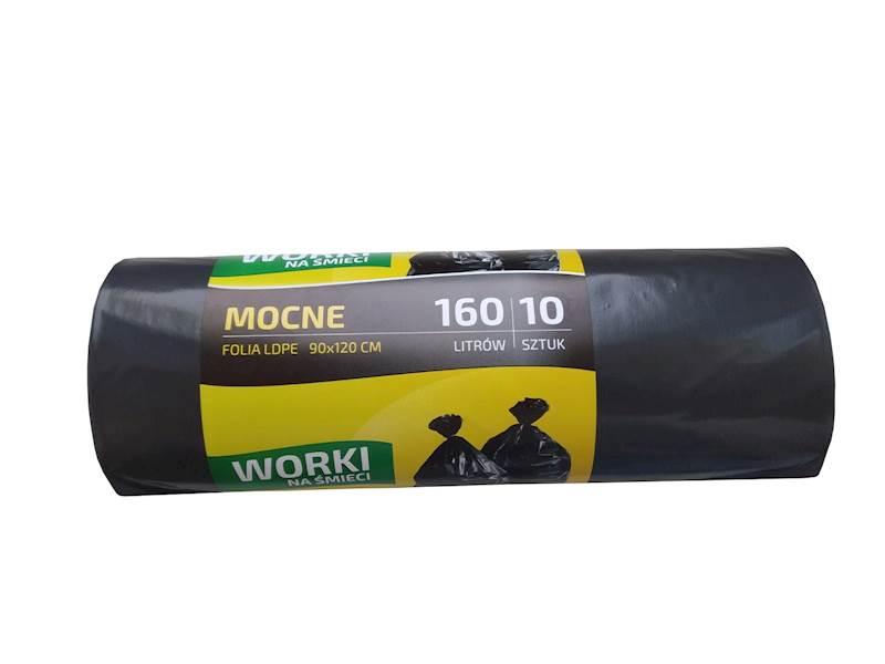 Worki na śmieci 160L mocne 10 sztuk czarne