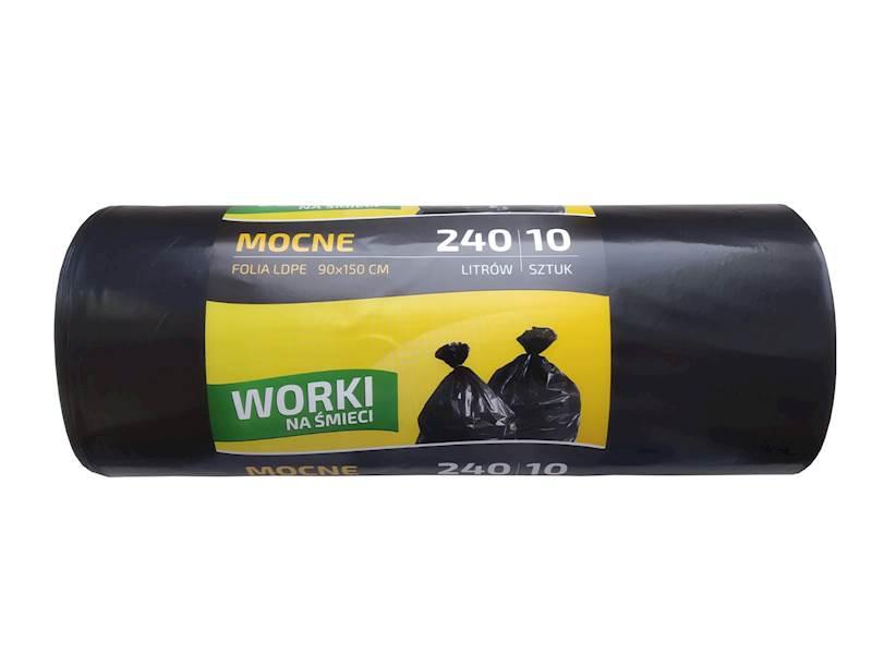 Worki na śmieci 240L mocne 10 sztuk czarne