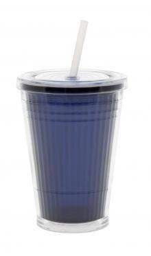 Kubek ze słomką - niebieski (Navy Blue) Gimex