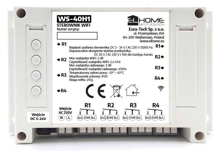 WS-40H1 sterownik WiFi 4 kanały