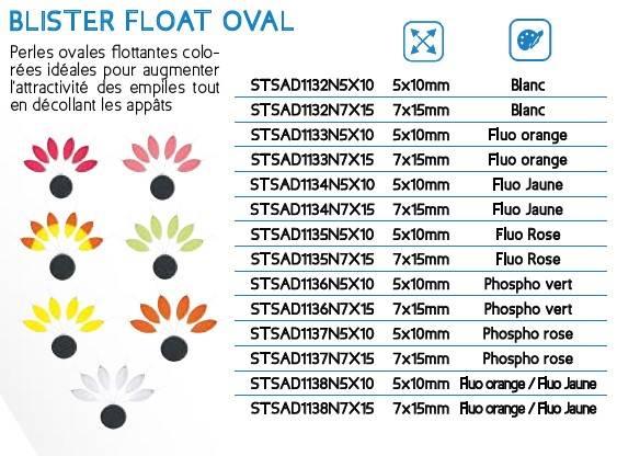 Perły owalne pływajace SUNSET różowe fosfo 7x15mm