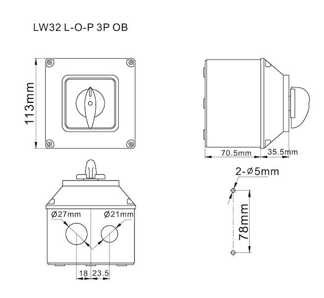 Łącznik krzywkowy L-0-P 32A 3P w obudowie IP65