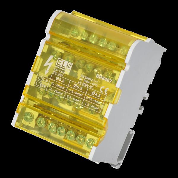 Blok 4 x 7 zacisków 125A 5x6mm, 2x25mm żółty
