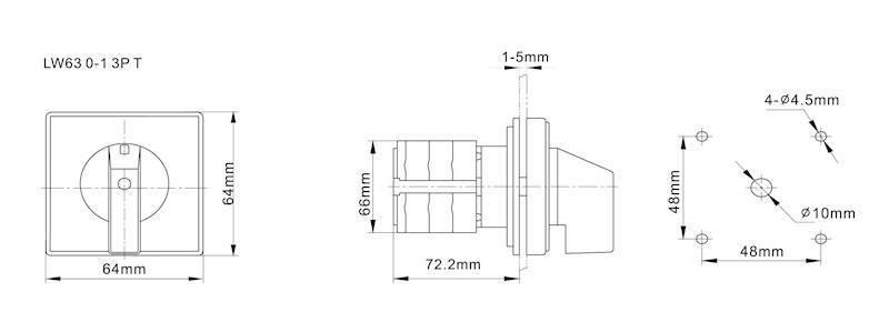 Łącznik krzywkowy 0-1 63A 3P na kłódkę IP65
