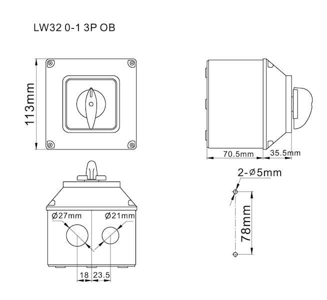 Łącznik krzywkowy 0-1 32A 3P w obudowie IP65