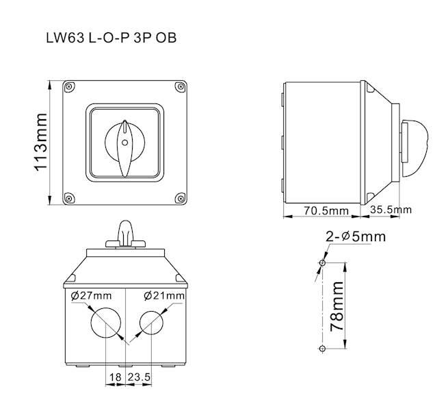 Łącznik krzywkowy L-0-P 63A 3P w obudowie IP65
