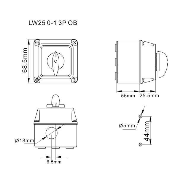 Łącznik krzywkowy 0-1 25A 3P w obudowie IP65