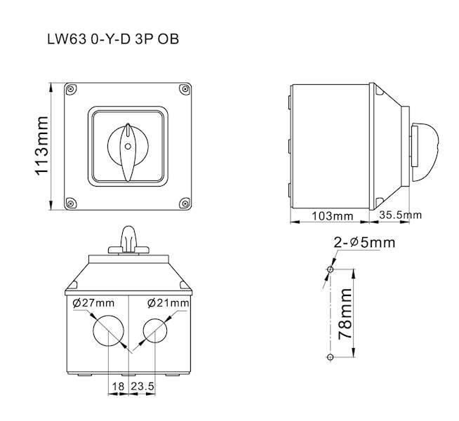 Łącznik krzywkowy 0-Y-D 63A 3P w obudowie IP65