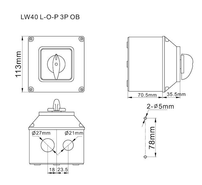 Łącznik krzywkowy L-0-P 40A 3P w obudowie IP65