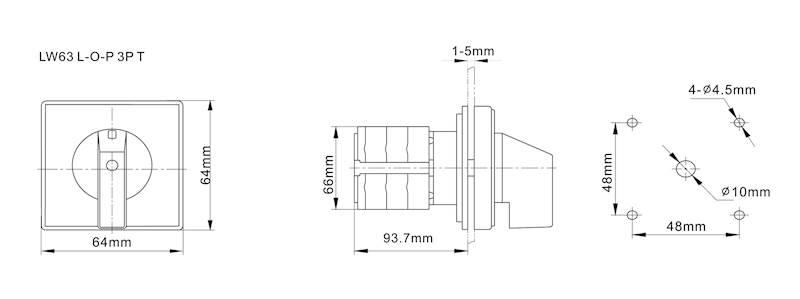Łącznik krzywkowy L-0-P 63A 3P tablicowy IP65