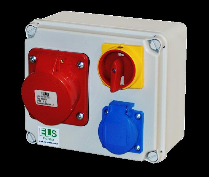 ELO 16/5 + 1x230V + wyłącznik 0-1 na kłódkę IP44