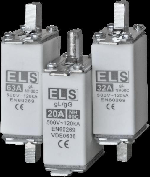Wkładka bezpiecznikowa ELS NH00C 63A gL 500V 120kA