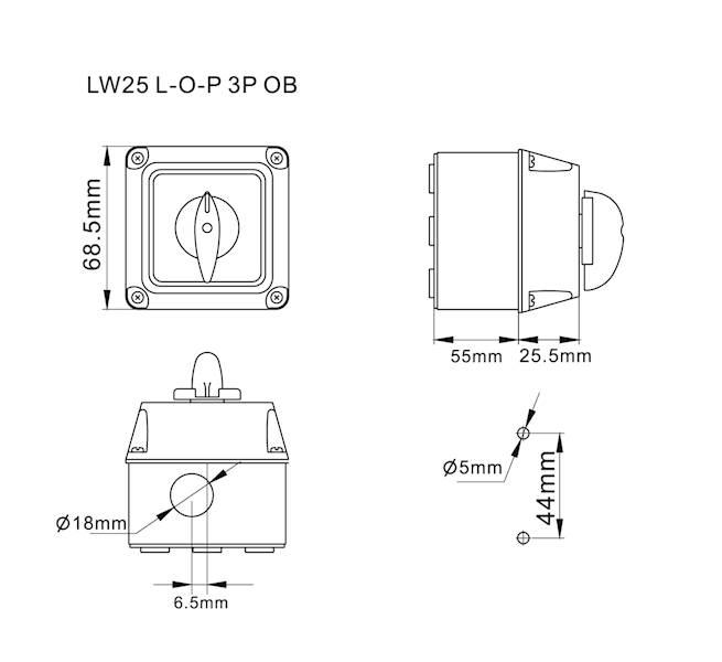 Łącznik krzywkowy L-0-P 25A 3P w obudowie IP65