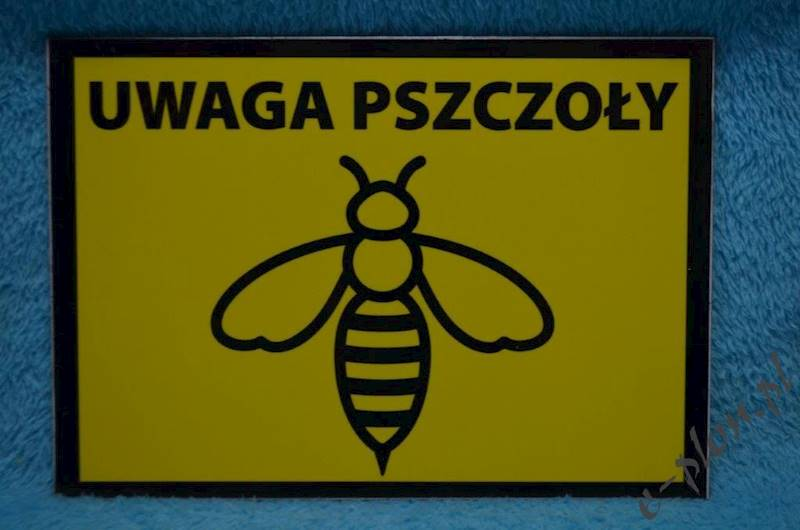 """Tabliczka """"Uwaga pszczoły"""" format A5 - wzór T9"""