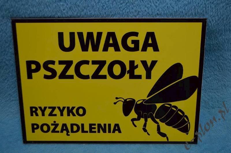 """Tabliczka """"Uwaga pszczoły"""" format A4 - wzór T7"""