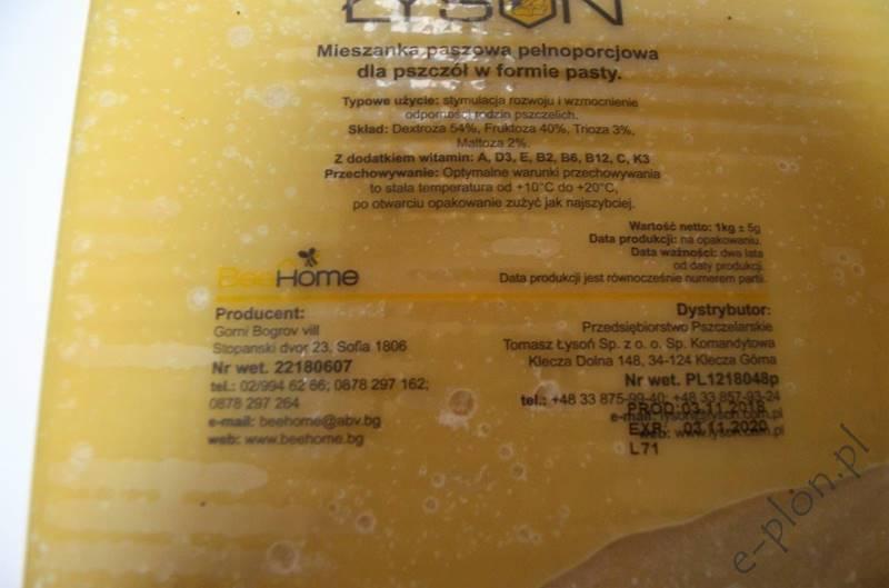Pasza dla pszczół  - ciasto witaminy / Index:3243/