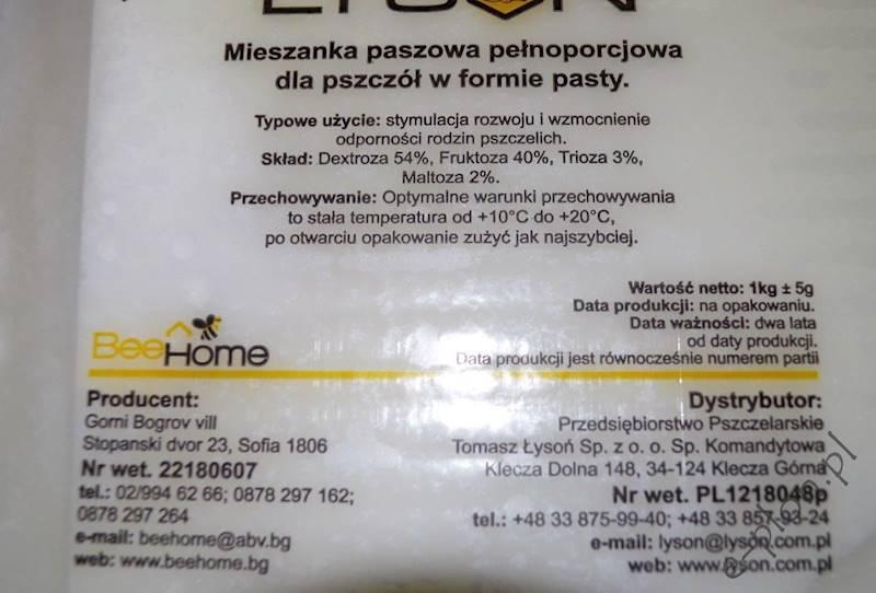 Pasza dla pszczół  - ciasto tymol / Index:3249/