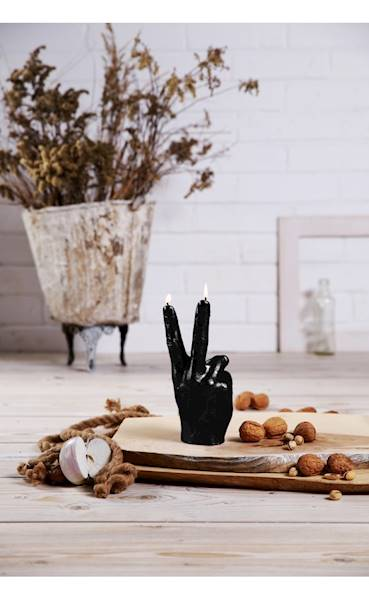 Świeca Candle Hand PEACE Black Metallic