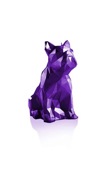 Świeca Candle Bulldog Low Poly Violet Metallic