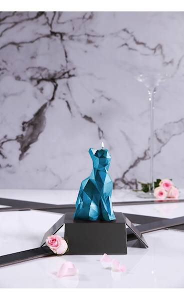 Świeca Candle Cat Low Poly Blue Metallic