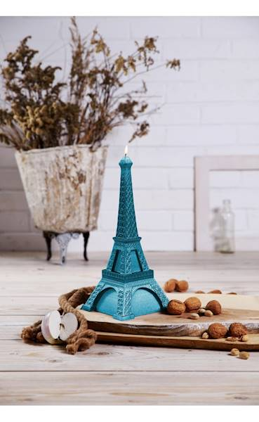 Świeca Candle Eiffel Tower Blue Metallic
