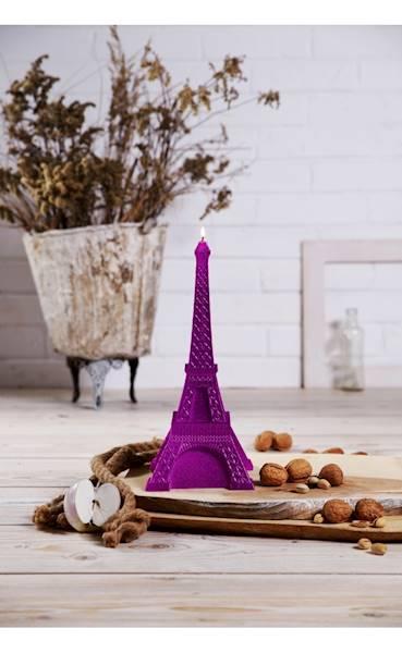 Świeca Candle Eiffel Tower Pink Metallic