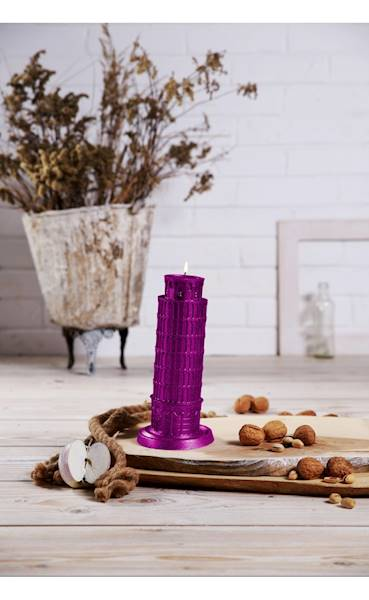 Świeca Candle Piza Tower Pink Metallic