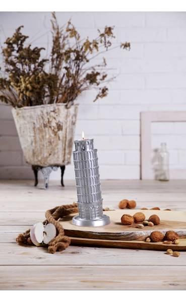 Świeca Candle Piza Tower Silver