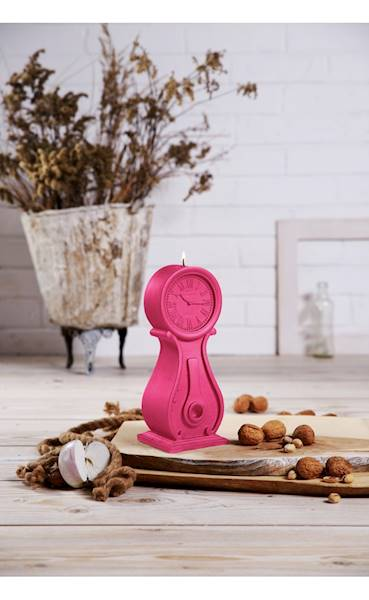Świeca Candle Clock Dark Pink
