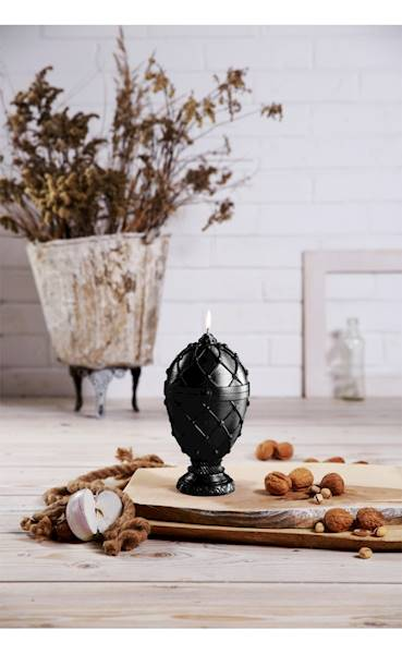 Świeca Candle Faberge Egg Big Black Metallic